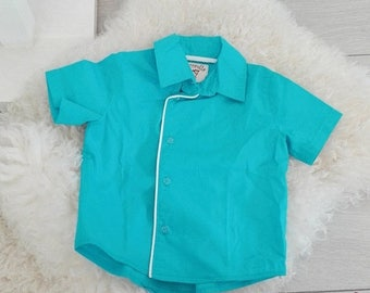 SALE Boy's short sleeves shirt turquoise