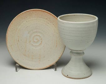 pottery chalice set, simple clay chalice, ceramic communionware