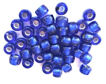 Lot of 25 9mm Dark Sapphire Blue Silver Lined Czech glass pony, roller beads, large hole crow beads, C3550