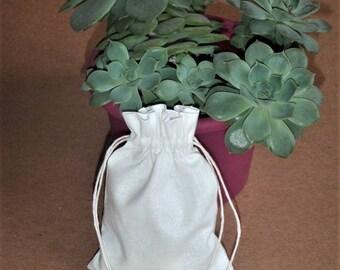 """50 pcs White Cotton Drawstring Bags * Cotton Pouches * Cotton Party Favors * 3""""x4"""" (8cm x 10cm)"""
