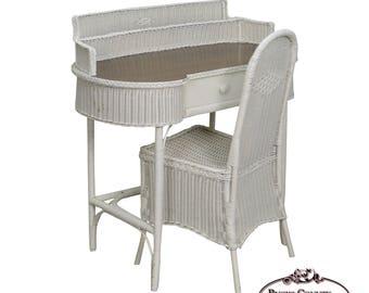 vintage wicker desk chair | etsy