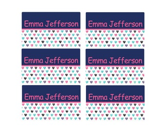 95ct Stick On Clothing Name Labels,  Kids Clothing Labels, Personalize Uniform Name Labels - Baby Clothing Navy Hearts