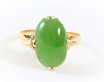 Vintage 18k Gold Oval Jade Ring