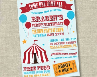 Circus invitation, carnival invitation, circus birthday, carnival birthday invitation, circus first birthday, big top birthday