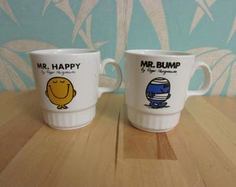 Pair of 1970s Mr Men stacking mugs, made in England