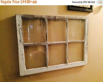 SUMMER SALE Wreath hanger - christmas wreath hanger - 6 pane window wreath hanger - chippy window sash - 6 pane window decor - shabby chic 6