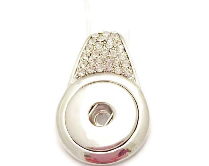 Snap Necklace, Snap Jewelry- Snap Button Jewelry,Fits 18mm Snap Charms, Comes with Silver Chain, Interchangeable Snap Jewelry