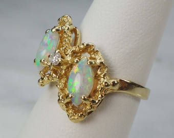 Vintage Opal Ring Two Marquise Opals Ring Diamond Ring 14k Yellow Gold Genuine Australian Opal Ring 14k Gold Ring October Birthstone