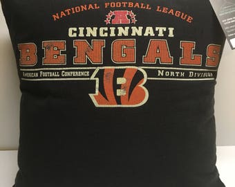 Cincinnati, Ohio Football T-Shirt Pillow 16x16 Upcycled One of a Kind