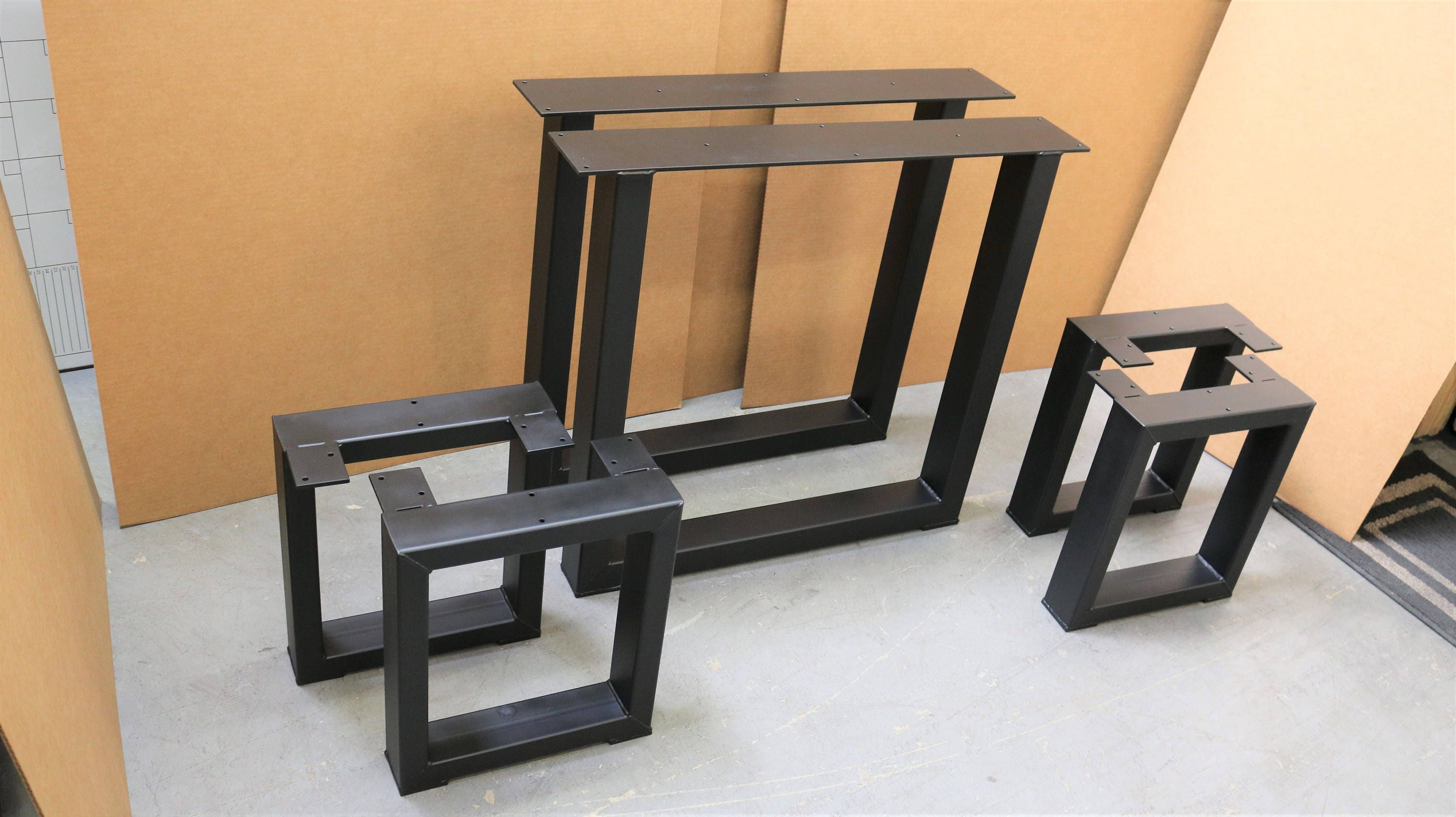 Set of 2 square table legs and 4 square bench legs model for Square iron table legs
