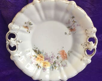 CT Carl Tielsch Vintage Floral China Handled Plate Tray Germany