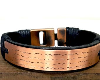 Personalized Morse Code Leather Bracelet, Copper Anniversary Gift for Him, Custom Hidden Message Engraved Gift for Man, Valentine's Day Gift