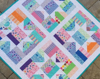 "Handmade baby girl quilt blanket throw.  40"" x 40"".  Moda fabric ""Rainy day"" collection.  Modern Fence rail with stars design."
