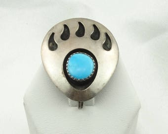 Unique Bear Paw Sterling Silver and Turquoise Brooch/Pendant FREE SHIPPING!  #BEAR-BR1
