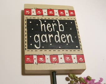 Herb Garden Sign, Painted Wood Vegetable Marker, Wooden Herb Stake
