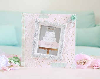 Fabric cake congratulations wedding card