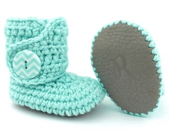 Infant Boots, Teal Chevron Crochet Baby Booties, Keepsake Turquoise Newborn Shoes, Gray Leather Soft Sole Crib Shoe, Trendy Booty for Babies