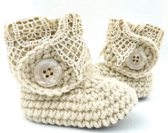 Baby Girl Booties, Ivory Lace and Gold Leather Crib Shoes, Baptism Newborn Boots, Christening Outfit for Girl, Cream Crochet Infant Clothes