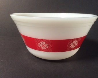 Vintage Federal Milk Glass Red Gingham Mixing Serving Bowl