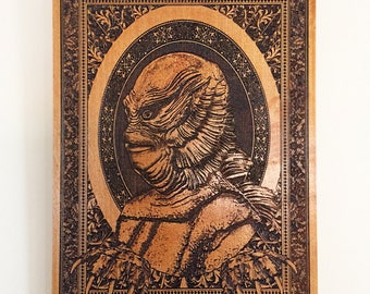 Creature from the Black Lagoon Art, Monster Carved Wood, Movie Poster, Vintage Classic Horror Film, Halloween Monster Movie Horror Sci Fi