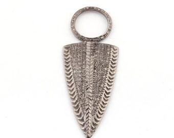 Valentine Day Sale 1 Piece Pave Diamond Arrowhead Pendant - Arrowhead Antique Finish Pendant 63mmx24mm PD1029