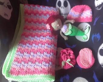 ann's blanket set leaping stripes