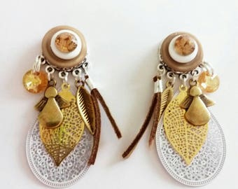 Earrings gold and white Crystal and prints