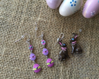 2 sets of Easter earrings/ chocolate bunny earrings/ Easter eggs earrings/ whimsical Easter earrings/ earrings for Easter/ bunny earrings