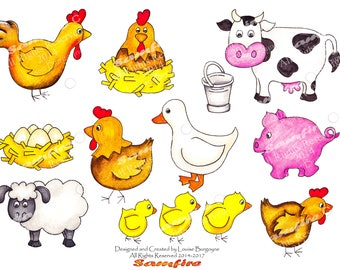 Cute Farm Animals -Pig-Sheep-Birthday-Goose-Farm-Cow-Pale-Rooster-Eggs- Downloadable - Printable Clip Art - Card Making - Scrapbooking - Art