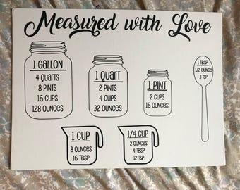 Kitchen Measurement Sign - Measurement Cheatsheet - Kitchen Decor - Kitchen Sign
