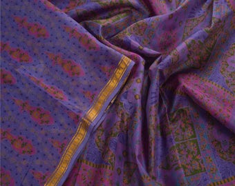 KK Indian Printed Saree Pure Silk Craft Blue Fabric Zari Border Sari