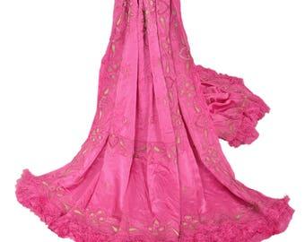 KK Heavy Dupatta Satin Silk Stole Hand Beaded Zardozi Pink