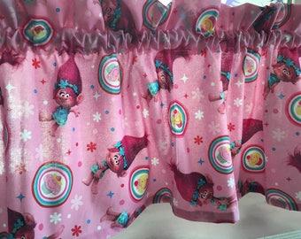 """Trolls Pink Valance Curtain 42"""" W x 13"""" New Handmade"""