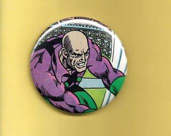 """Vintage Lex Luthor Comic DC Comics 2 1/4"""" Button"""