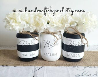 Set of 3 Black&White Distressed Mason Jars, Shabby Chic Home Decor, Wedding Center Pieces, Wedding Decor,Flower Vases, Party Centerpieces
