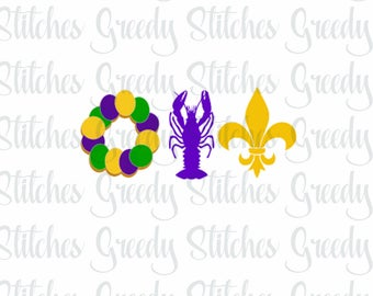 Mardi Gras King Cake, Crawfish, Fleur De Lis Trio svg, dxf, fcm, eps, and png.