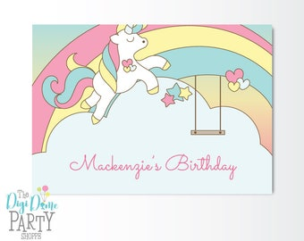 Rainbow Unicorn Party Printable Backdrop A0 Size, Instant Download