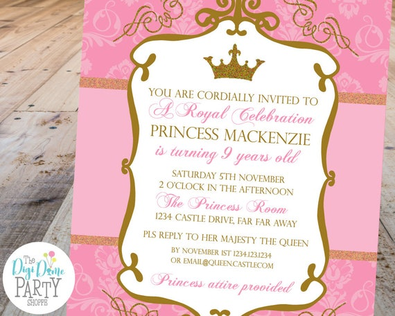 Princess Crown Party Printable Invitation Template, 5x7in - Pink and ...