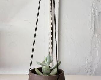 Ceramics- purple gray - hanging jar -flower pot- candle holder - herb planter- NEW!