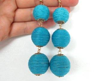 Turquoise Thread Ball Statement Earrings