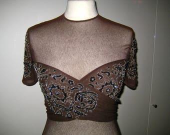 Armani body # tobacco -brown #  rich embroidery  #size M
