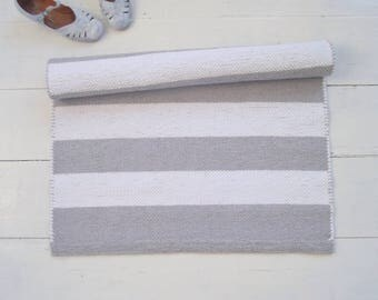 White Grey Striped Rug, White and Light Grey Cotton Rug, Scandinavian rug, Handmade, Washable, Woven on the Loom, Ready to Ship
