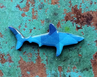 Shark Necklace / Shark Brooch -  Porbeagle Shark Necklace or Brooch Handmade by Honoloulou's - Geometric Blues