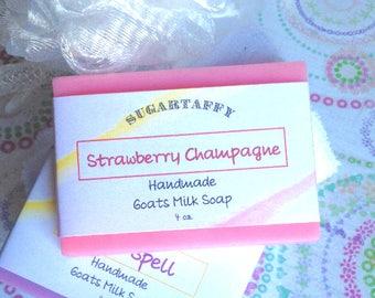 Strawberry Champagne Soap, Goat Milk Soap, Strawberries, Homemade Soap, Bar Soap