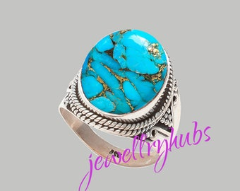 Blue Turquoise Ring, Copper Turquoise Ring, Handmade Ring, Turquoise Stone Ring,925 Sterling Silver, Silver Ring, R23TRB