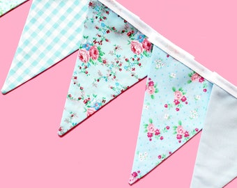 Vintage bunting - vintage banner - vintage decor - blue fabric bunting flags - shabby chic bunting - wedding bunting -  floral bunting
