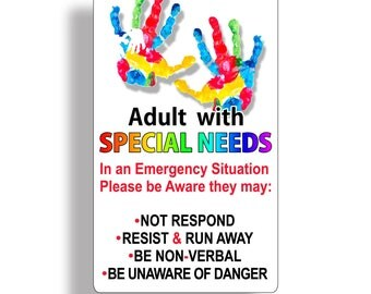 Adult with Special Needs Sticker Car Truck Vehicle Window Emergency Safety Alert First Aid Safe Decal