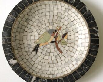 Denmark MidCentury Marble Mosaic Bowl, with Bird Design