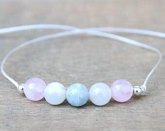 Fertility Bracelet - Wish Bracelet - Trying To Conceive - IVF Bracelet - Aquamarine Bracelet - Moonstone Bracelet - Rose Quartz - Sterling