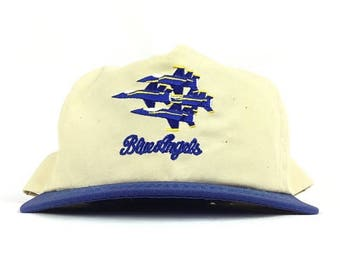 On Sale Now Vintage 90s Blue Angels (Flight Demostration Sqaudron) Embroidered Baseball Cap Hat SnapBack Sam-Med Adult Size